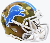 Barry Sanders Autographed Detroit Lions Riddell Camo Mini Football Helmet (Pre-Order)
