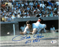 "Pete Rose Autographed Cincinnati Reds 8x10 Photo #7 w/ ""Hit King"""