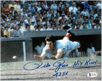 "Pete Rose Autographed Cincinnati Reds 8x10 Photo #8 w/ ""Hit King 4256"""