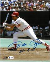 "Pete Rose Autographed Cincinnati Reds 8x10 Photo #9 w/ ""Hit King"""