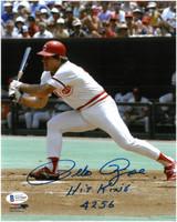 "Pete Rose Autographed Cincinnati Reds 8x10 Photo #10 w/ ""Hit King 4256"""