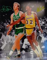 Larry Bird & Magic Johnson Autographed 16x20 Photo