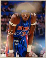"""Ben Wallace Autographed Detroit Pistons 16x20 Photo #1 w/ """"2021 HOF"""""""