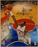 """Ben Wallace Autographed Detroit Pistons 16x20 Photo #2 w/ """"2021 HOF"""""""