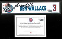 Ben Wallace Autographed Detroit Pistons 2003-2004 NBA Seasons Locker Nameplate