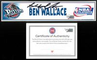 Ben Wallace Autographed Detroit Pistons 2002 NBA Playoffs Locker Nameplate