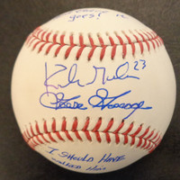"""Kirk Gibson & Goose Gossage Autographed 1984 WS OMLB w/ """"and there it goes!"""" & """"I Should Have Walked Him"""""""