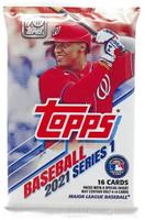 MLB Topps 2021 Series 1 Baseball Trading Card Pack - 16 Cards