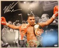 Mike Tyson Autographed 16x20 Photo #2 - 3 Belts Spotlight