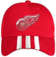 Detroit Red Wings Men's Adidas Red Locker Room Three Stripe Adjustable Hat
