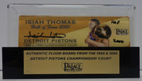 """Isiah Thomas Autographed Palace of Auburn Hills Floor Slat with Part of 3-Point Line with Case w/ """"HOF 2000"""""""