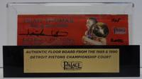 "Isiah Thomas Autographed Palace of Auburn Hills Floor Slat with Case w/ ""HOF 2000"" - Red"