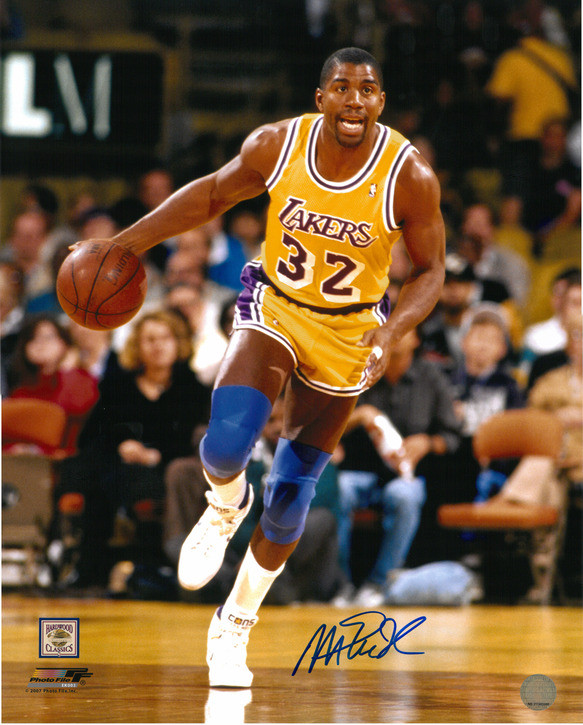 reputable site 02af1 52e79 Magic Johnson Autographed LA Lakers 16x20 Photo #4 - Dribbling Upcourt