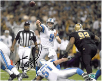 Matthew Stafford Autographed Detroit Lions 8x10 Photo #5 - Passing (horizontal)
