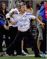 Jim Schwartz Autographed Detroit Lions 16x20 Photo #1 - The Fist Pump