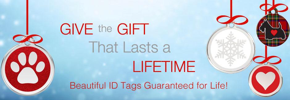 Holiday DOg ID tags for Christmas stocking stuffers