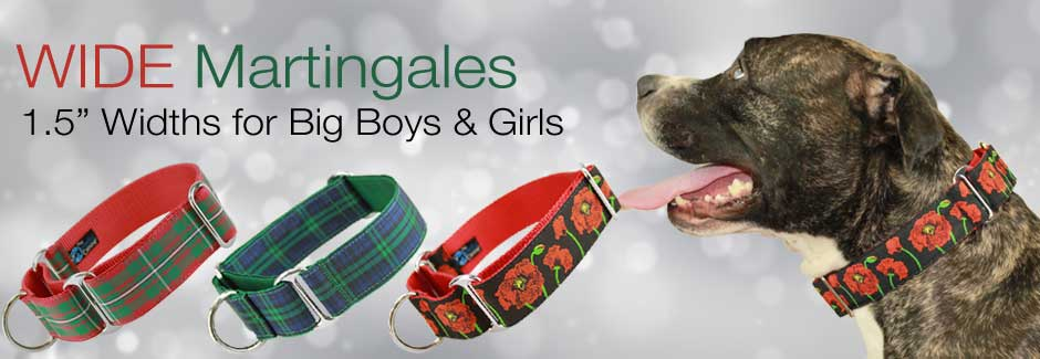 Wide Martingale Collars in Holiday and Christmas designs