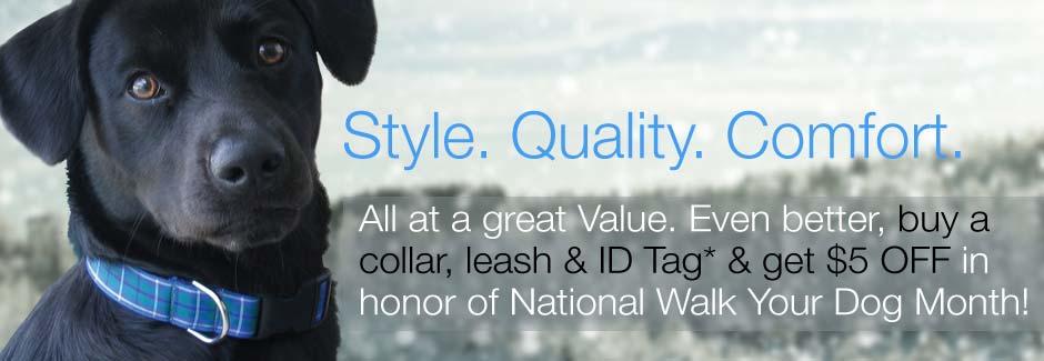 $5 off collar, leash and id tag set