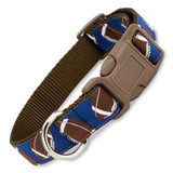 Football Dog Collar, Quick Release Snap On Style Buckle, Brown & Navy, Adjustable