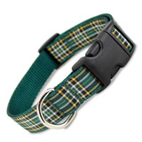 Plaid Dog Collar, Irish National Tartan, Quick Release Snap On Style Buckle, Adjustable
