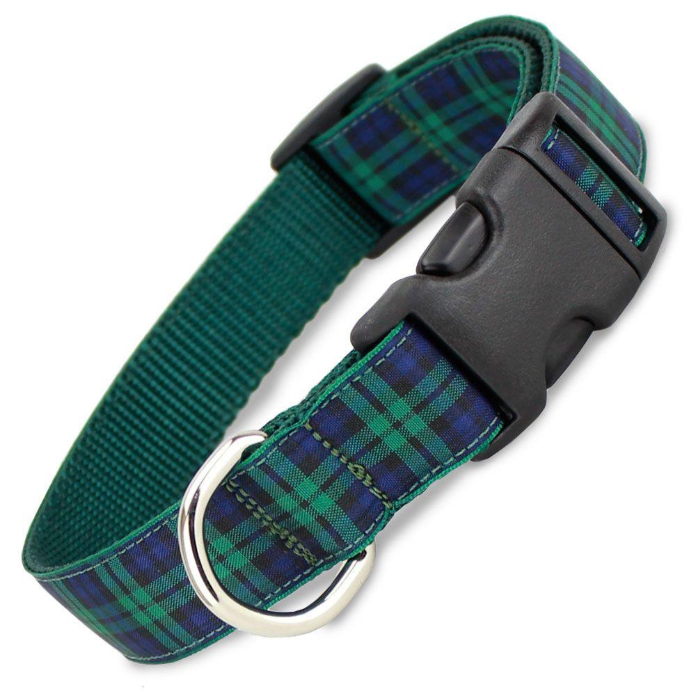 Plaid Dog Collar Blackwatch Tartan Green Plaid Dog