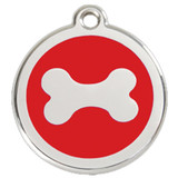 Bone Dog ID Tag, Red Enameling, Stainless Steel Name Tag