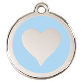 Heart Dog ID Tag, Baby Blue Enameling, Stainless Steel Name Tag