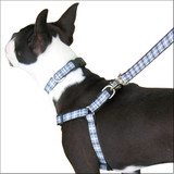 Plaid Step-in Dog Harness, Choke-Free Adjustable Black & White Tartan