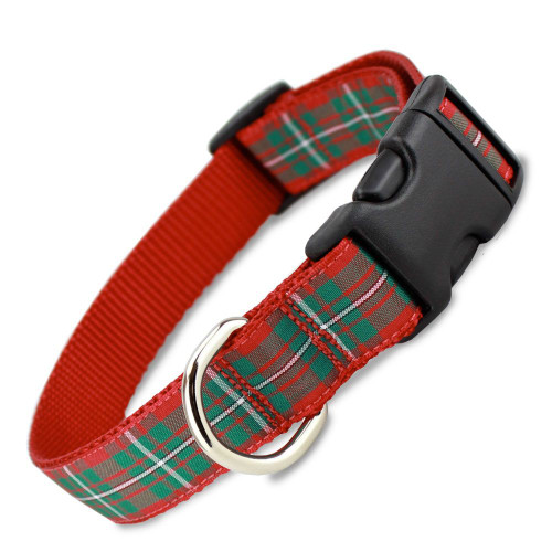 Holiday Plaid Dog Collar, Quick Release Snap On Style Buckle, Red Tartan Design Adjustable