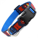 Nautical Dog Collar, Quick Release Snap On Style Buckle, Navy Blue, Adjustable