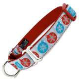 Holiday Martingale Dog Collar with Metallic Snowflakes, Limited Slip Safety Collar