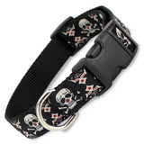 Tribal Skull & Crossbones Dog Collar, Quick Release Snap On Style Buckle, Adjustable