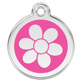 Flower Dog ID Tag, Hot Pink Enameling, Stainless Steel Name Tag