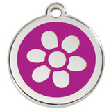 Flower Dog ID Tag, Purple Enameling, Stainless Steel Name Tag
