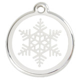 Snowflake Dog ID Tag, White Enameling, Stainless Steel Name Tag