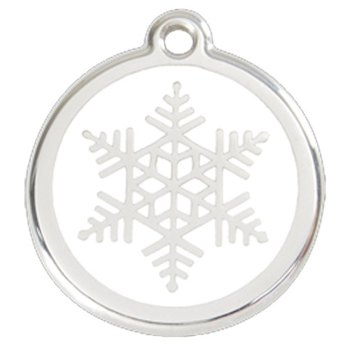 snowflake dog id tag white enameling stainless steel name tag