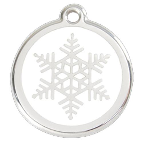 Snowflake Dog ID Tag, White Enameling, Stainless Steel Name Tag