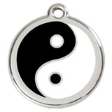 Yin Yang Dog ID Tag, Black & White Enameling, Stainless Steel Name Tag
