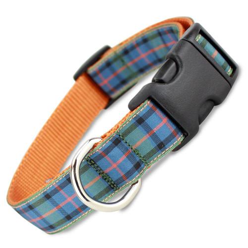 Plaid Dog Collar, Flower of Scotland Tartan, Quick Release Collar