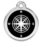 Compass Dog ID Tag, Black, Enamel Stainless Steel Name Tag