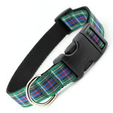 Plaid Dog Collar, Quick Release Snap On Style Buckle, Rose Tartan