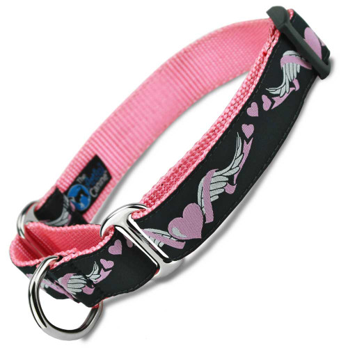 Heart Martingale dog Collar, with Wings, training collar, Safety Collar