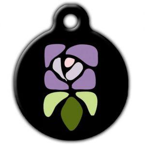 Vintage Flower Dog ID Tag, Purple Floral Dog ID Tag