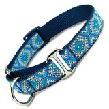 Blue Aztec Martingale Dog Collar with Greek Key, Tribal Design Elements