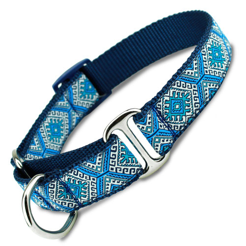 Blue Aztec Martingale Dog Collar with Greek Key, Tribal Design Elements