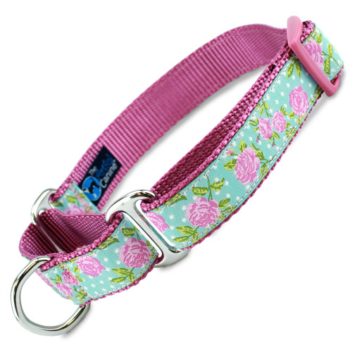 Pink Roses Martingale Dog Collar, pink flowers, Shabby Chic Design