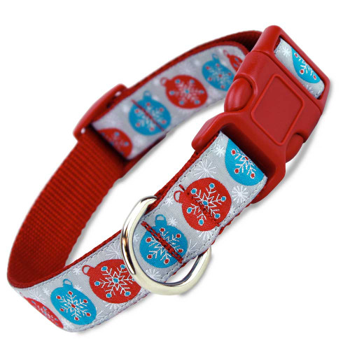 Christmas Dog Collar with Snowflakes, Quick Release Snap On Style Buckle, Red & Silver