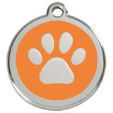 Orange dog id tag, paw print, stainless steel enameled