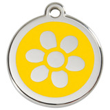 Flower Dog ID Tag, Yellow Enamel Stainless Steel Name Tag