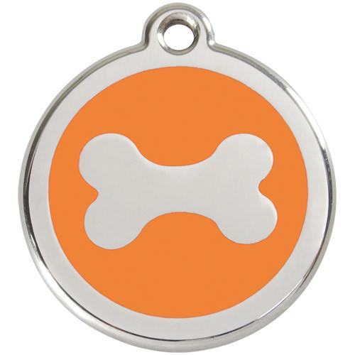 Bone Dog ID Tag, Orange Enamel Stainless Steel Name Tag